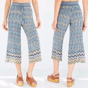 UO Ecote Chevron Sweater Knit Culotte Pant